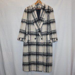 VTG Mohair Wool black white big plaid maxi coat